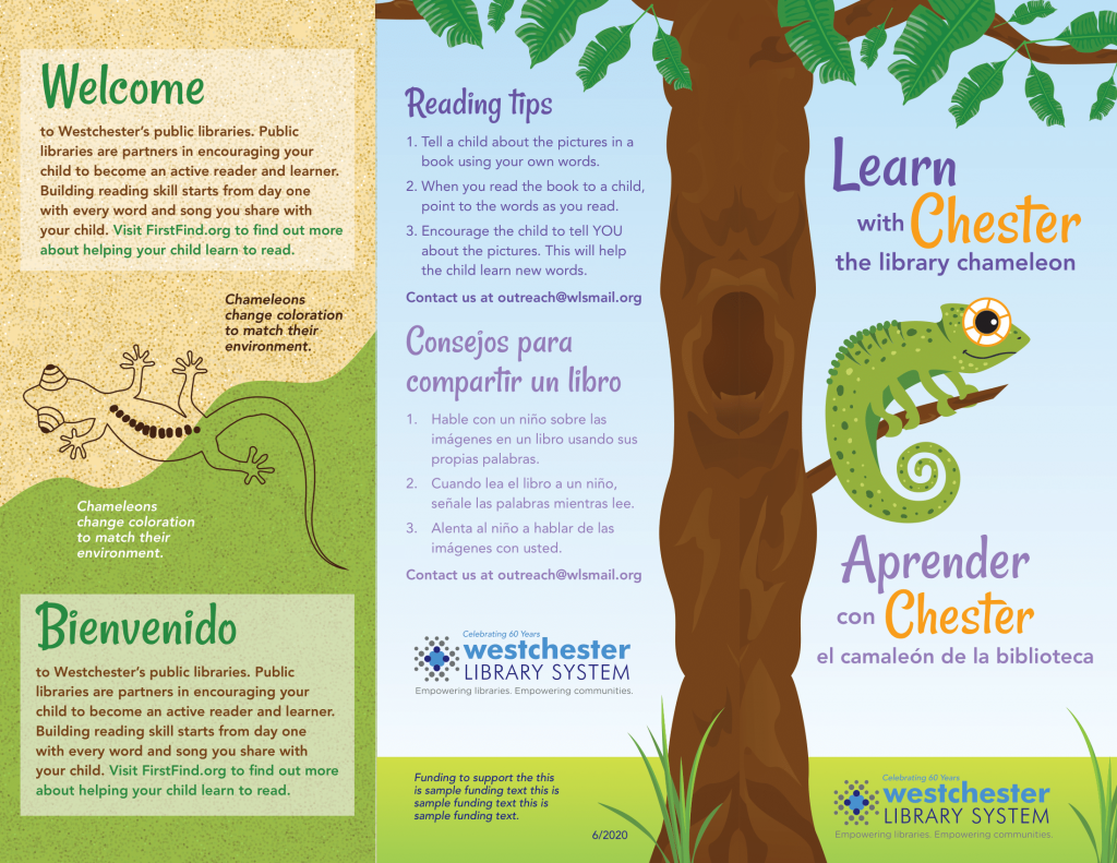 image of Learn with Chester the Library Chameleon brochure in English and Spanish
