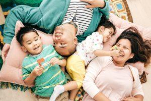photo of a diverse family having fun